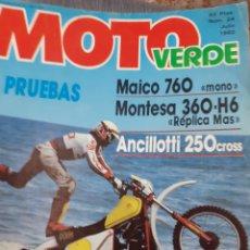 Coleccionismo de Revistas y Periódicos: REVISTA MOTO VERDE NÚM. 24 3 PRUEBAS, SOLER EMPIEZO A SER PROFESIONAL CON MONTESA,CROSS AÑO 7/1980. Lote 195297213