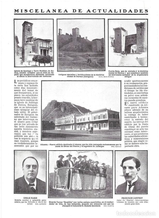 1911 HOJA REVISTA ZARAGOZA DAROCA IGLESIA DE SANTIAGO Y TORRE MUDEJAR MURALLAS PUERTA BAJA (Coleccionismo - Revistas y Periódicos Antiguos (hasta 1.939))