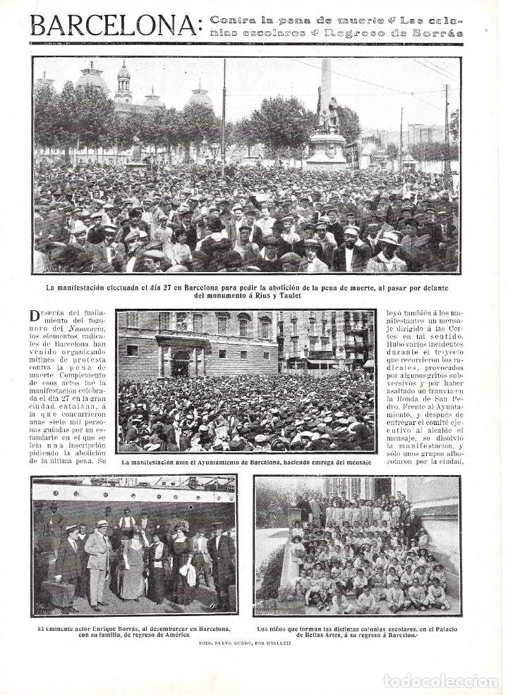 1911 HOJA REVISTA BARCELONA MONUMENTO A RIUS Y TAULET MANIFESTACIÓN PRO ABOLICIÓN PENA DE MUERTE (Coleccionismo - Revistas y Periódicos Antiguos (hasta 1.939))