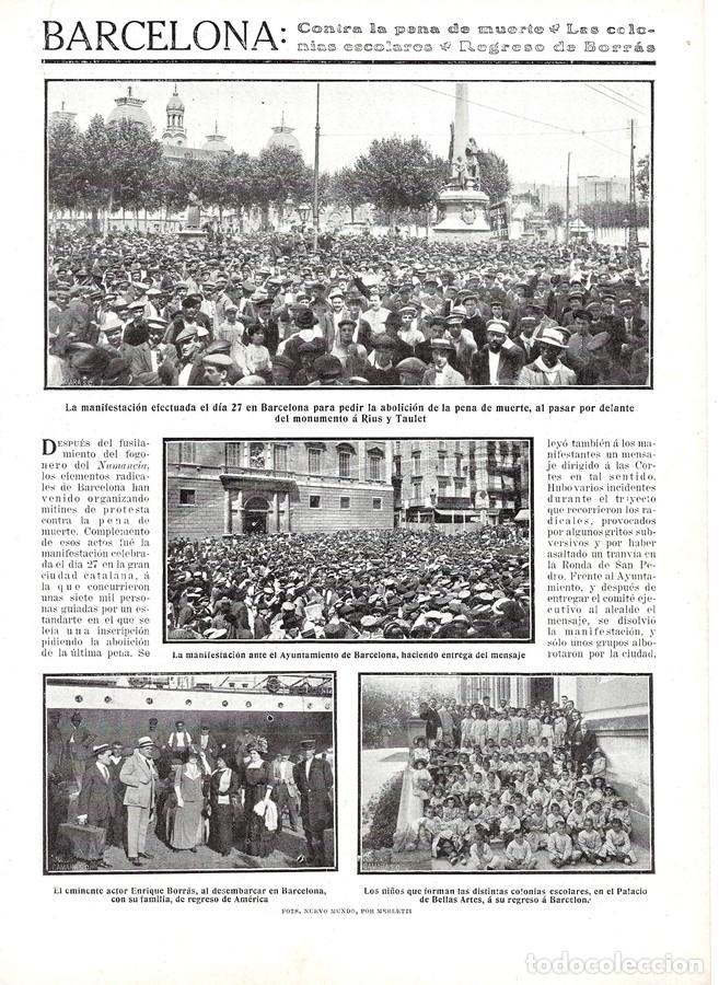1911 HOJA REVISTA BARCELONA ACTOR ENRIQUE BORRÁS EMBARQUE A AMÉRICA - NIÑOS COLONIAS ESCOLARES (Coleccionismo - Revistas y Periódicos Antiguos (hasta 1.939))