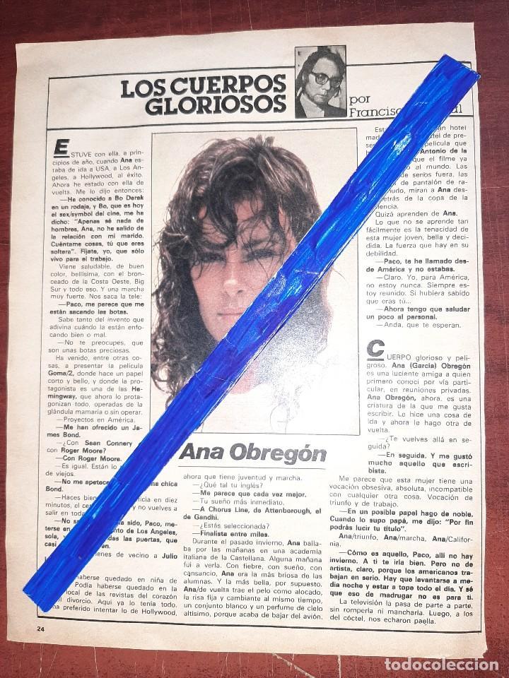 ANA OBREGON - ENTREVISTA - RECORTE 1 PAG - REVISTA INTERVIU AÑO 1984 (Coleccionismo - Revistas y Periódicos Modernos (a partir de 1.940) - Otros)