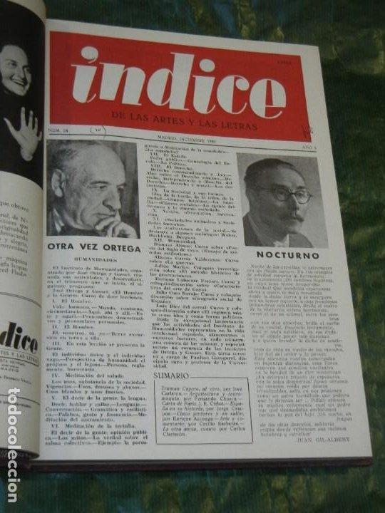 VOLUMEN ENCUADERNANDO INDICE DE LAS ARTES Y DE LA LETRAS - 1949-1951 NUMEROS 23 A 43 (21 NUMS.) (Coleccionismo - Revistas y Periódicos Modernos (a partir de 1.940) - Otros)