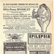 Coleccionismo de Revistas y Periódicos: 1911 HOJA REVISTA PUBLICIDAD ANUNCIO RECORTE DE PRENSA SIFÓN 'PRANA' SPARKLET. Lote 195413953