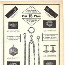 Coleccionismo de Revistas y Periódicos: 1911 HOJA REVISTA PUBLICIDAD ANUNCIO RECORTE PRENSA JOYERÍA 'BRILLANTES DE BORO' SORTIJAS MEDALLAS. Lote 195414272