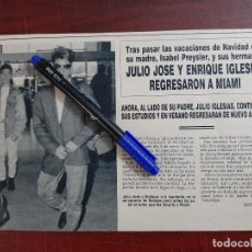 Coleccionismo de Revistas y Periódicos: JULIO JOSE Y ENRIQUE IGLESIAS REGRESARON A MIAMI - - RECORTE - REVISTA HOLA AÑO 1990. Lote 195438367