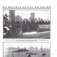 Coleccionismo de Revistas y Periódicos: 1911 HOJA REVISTA FRANCIA TOLON BARCOS NAVAL PRESIDENTE FALLIERES TORPEDERO 311 ACORAZADO 'MASSENA'. Lote 195470035