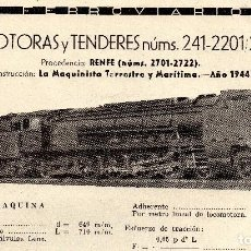 Coleccionismo de Revistas y Periódicos: LOCOMOTORA 241-2201 PRESTACIONES, CARACTERISTICAS Y FABRICANTE FERROVIARIOS Nº 71. Lote 195478136