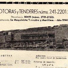 Coleccionismo de Revistas y Periódicos: LOCOMOTORA 241-2201 /241-2222 PRESTACIONES, CARACTERISTICAS Y FABRICANTE FERROVIARIOS Nº 71. Lote 195478582