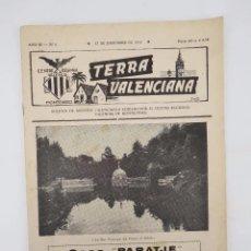 Coleccionismo de Revistas y Periódicos: TERRA VALENCIANA AÑO III N.º 6. BOLETIN DE ESTUDIOS VALENCIANOS 1956. Lote 195526940
