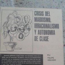 Coleccionismo de Revistas y Periódicos: CRISIS DEL MARXISMO Y AUTONOMIA OBRERA. FELIPE AGUADO. MONOGRAFIA DE EMANCIPACION Nº 6 ABRIL 1978. Lote 195532598
