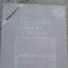 Coleccionismo de Revistas y Periódicos: LA AUTONOMIA OBRERA A DEBATE. RELACION CON CNT. MONOGRAFIA DE EMANCIPACION Nº 5 MARZO 1978. Lote 195533095