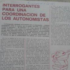 Coleccionismo de Revistas y Periódicos: POR LA COODINACION DEL MOVIMIENTO AUTONOMO. RECORTE 2 PAGINAS DE EMANCIPACION Nº 6 ABRIL 1978. Lote 195533197