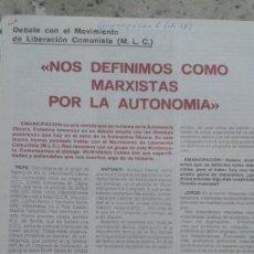 Coleccionismo de Revistas y Periódicos: MOVIMIENTO DE LIBERACION COMUNISTA POR LA AUTONOMIA. RECORTE 4 PAGINAS EMANCIPACION Nº 6 ABRIL 1978. Lote 195533318