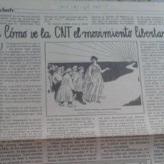 Coleccionismo de Revistas y Periódicos: DEBATE LA CNT Y EL MOVIMIENTO LIBERTARIO. EXTRAIDO DE CNT Nº 18 SEPTIEMBRE 1978. Lote 195536848