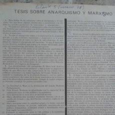 Coleccionismo de Revistas y Periódicos: TESIS SOBRE ANARQUISMO Y MARXISMO. EXTRAIDO DE LA REVISTA PALANTE Nº 5 VERANO 1978. Lote 195543407