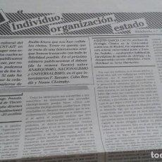 Coleccionismo de Revistas y Periódicos: DEBATE CONGRESO CNT INDIVUDUO,ORGANIZACION,ESTADO. 2 PAGINAS EXTRAIDAS DE MALA HIERBA ABRIL 1983. Lote 195544361