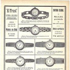 Coleccionismo de Revistas y Periódicos: 1911 HOJA REVISTA PUBLICIDAD ANUNCIO RECORTE PRENSA PULSERAS CON RELOJ JOYERÍA 'EL TRUST'. Lote 195550863
