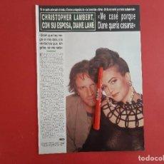 Coleccionismo de Revistas y Periódicos: CHRISTOPHER LAMBERT Y DIANE LANE - - RECORTE 2 PAG - REVISTA HOLA AÑO 1992. Lote 196342020