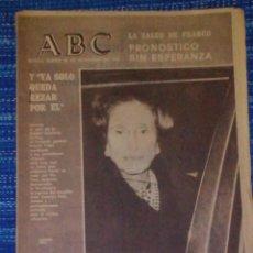 Coleccionismo de Revistas y Periódicos: VENDO ABC, JUEVES 20/11/1975 (FRANCO MURIÓ A LAS 4:40 DE LA MADRUGADA), VER MAS FOTOS.. Lote 196564065