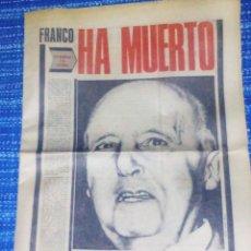 Coleccionismo de Revistas y Periódicos: VENDO PERIÓDICO (PUEBLO), JUEVES: 20/11/1975 - HA MUERTO (VER MAS FOTOS).. Lote 196774017