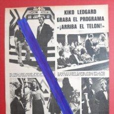 Coleccionismo de Revistas y Periódicos: KIKO LEDGARD GRABA ARRIBA EL TELON - - RECORTE 1 PAG - REVISTA LECTURAS AÑO 1975. Lote 197029122
