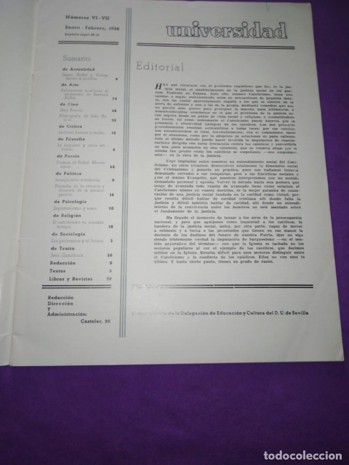 Coleccionismo de Revistas y Periódicos: UNIVERSIDAD NUMEROS VI VII ENERO FEBRERO 1958 SAGAN BUFFET VADIM BERNARD FUFFET JEAN RENOIR - Foto 2 - 197126815