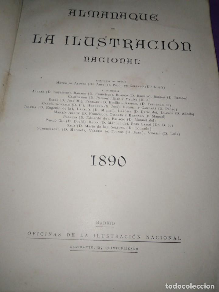 Coleccionismo de Revistas y Periódicos: ALMANAQUE ILUSTRACION NACIONAL 1890 MODERNISMO EDUARDO PALACIO ADOLFO LLANOS RAMON DE CAMPOAMOR - Foto 2 - 197183685