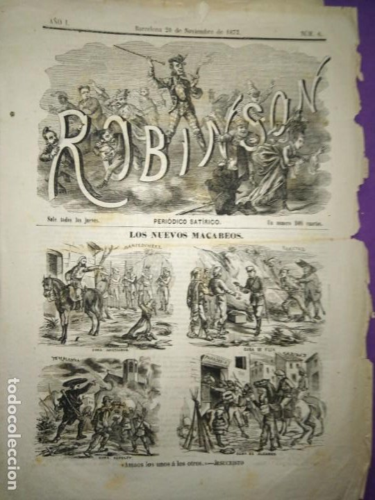 ROBISON SATIRICO LOS NUEVOS MACABEOS CRITICA CARLISMO CURA SANTACRUZ FLIX ESOLET ALCABON (Coleccionismo - Revistas y Periódicos Antiguos (hasta 1.939))