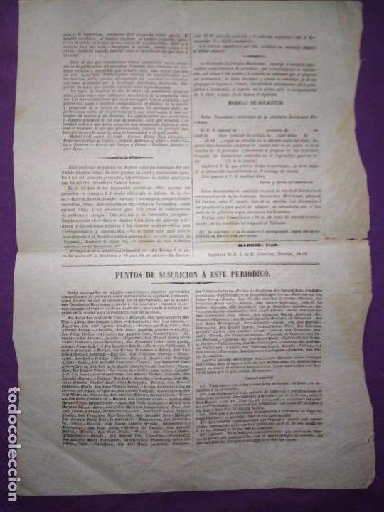 Coleccionismo de Revistas y Periódicos: LA UNION PERIODICO DE LA ACADEMIA QUIRURGICA MATRITENSE OFICIAL DE LA CESARAUGUSTANA Y MALLORQUINA P - Foto 2 - 197300305