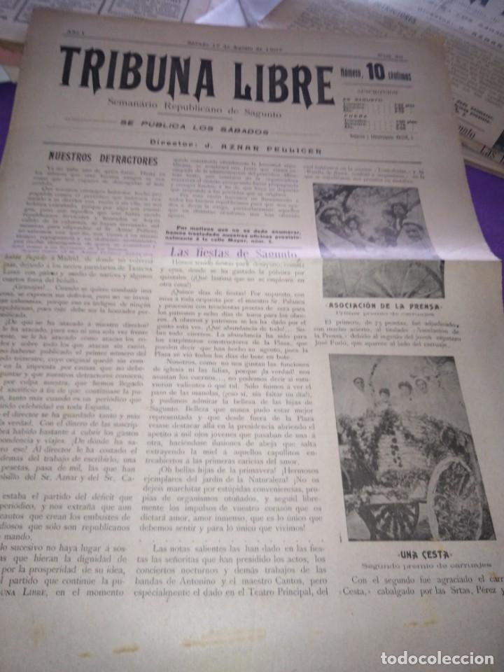 Coleccionismo de Revistas y Periódicos: TRIBUNA LIBRE SEMANARIO REPUBLICANO DE SAGUNTO 1907 J.AZANR PELLICER LAS FIESTAS DE SAGUNTO - Foto 2 - 197397911