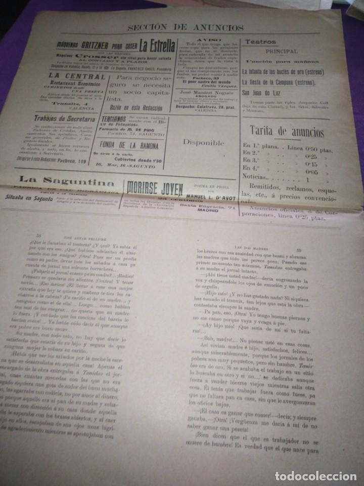Coleccionismo de Revistas y Periódicos: TRIBUNA LIBRE SEMANARIO REPUBLICANO DE SAGUNTO 1907 J.AZANR PELLICER LAS FIESTAS DE SAGUNTO - Foto 5 - 197397911