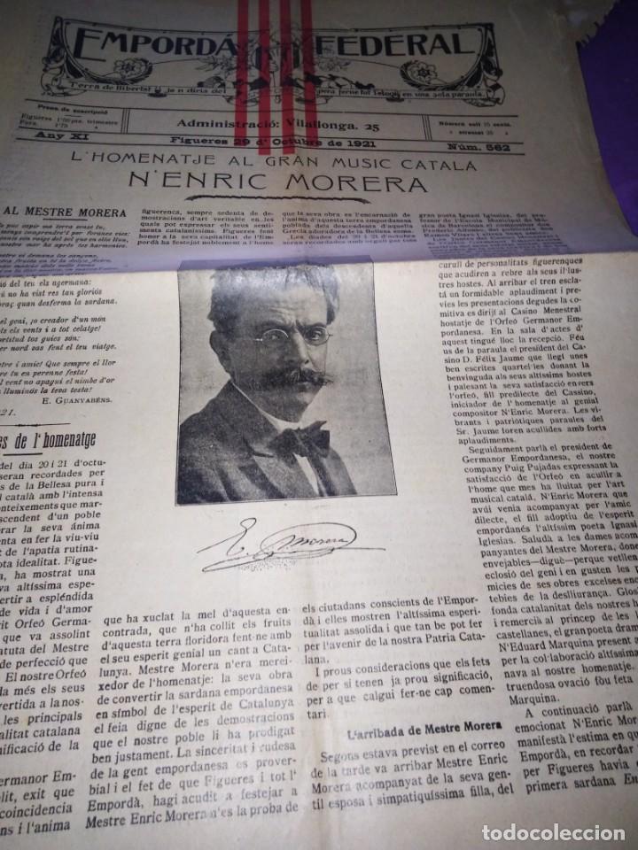 EMPORDA FEDERAL 1921 HOMENATJE ENRIC MORERA (Coleccionismo - Revistas y Periódicos Antiguos (hasta 1.939))