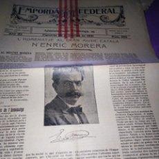 Coleccionismo de Revistas y Periódicos: EMPORDA FEDERAL 1921 HOMENATJE ENRIC MORERA. Lote 197432052