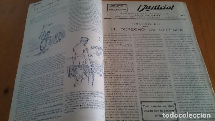 Coleccionismo de Revistas y Periódicos: REVISTA - JUSTICIA SEMANARIO NACIONAL INDEPENDIENTE AÑO I NUM 13 NOVIEMBRE 1923 - ORTEGA Y GASSET - Foto 2 - 197664862