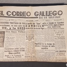 Coleccionismo de Revistas y Periódicos: EJEMPLAR ORIGINAL DEL DIARIO FERROLANO EL CORREO GALLEGO, DEL SABADO 14 DE SEPT. DE 1946. Lote 198241216