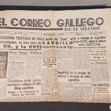 Coleccionismo de Revistas y Periódicos: EJEMPLAR ORIGINAL DEL DIARIO FERROLANO EL CORREO GALLEGO, DEL SABADO 14 DE SEPT. DE 1946. Lote 198244511
