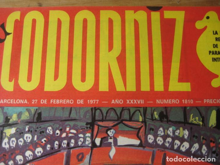 Coleccionismo de Revistas y Periódicos: REVISTA LA CODORNIZ Nº 1810 - 27 FEBRERO 1977 - PORTADA MADRIGAL - Foto 2 - 198282118