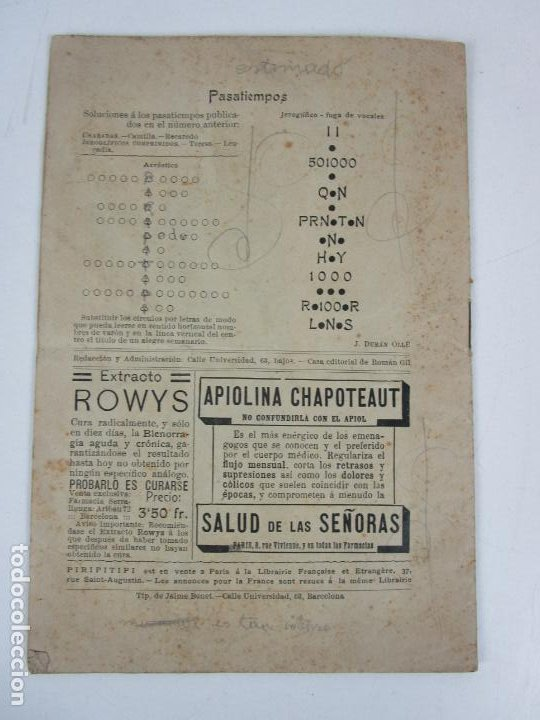 Coleccionismo de Revistas y Periódicos: Revista Erótica - Piripitipi - Semanario Festivo - Año II, nº 9 - Año 1904 - Foto 5 - 198283670