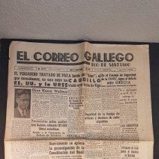 Coleccionismo de Revistas y Periódicos: EJEMPLAR ORIGINAL DEL DIARIO FERROLANO EL CORREO GALLEGO, DEL SABADO 14 DE SEPT. DE 1946.. Lote 198456942