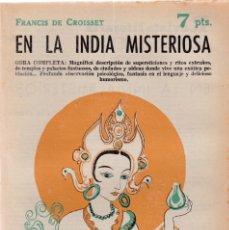 Coleccionismo de Revistas y Periódicos: EN LA INDIA MISTERIOSA - F. DE CROISSET - REVISTA NOVELAS Y CUENTOS Nº 1593 / NOVIEMBRE 1961. Lote 198626800