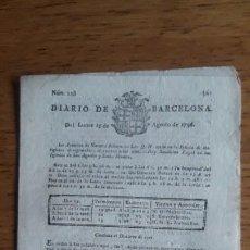 Coleccionismo de Revistas y Periódicos: DIARIO DE BARCELONA Nº 228 / LUNES 15 DE AGOSTO DE 1796 / ORIGINAL ÉPOCA / PAPEL DE HILO. Lote 198712421