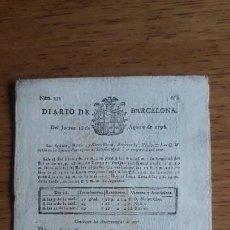 Coleccionismo de Revistas y Periódicos: DIARIO DE BARCELONA Nº 231 / JUEVES 18 DE AGOSTO DE 1796 / ORIGINAL ÉPOCA / PAPEL DE HILO. Lote 198712863