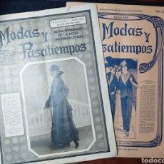 Coleccionismo de Revistas y Periódicos: MODAS Y PASATIEMPOS, 2 REVISTAS ANTIGUAS, BARCELONA, CATALUÑA, 1914 Y 1915,. Lote 198800463