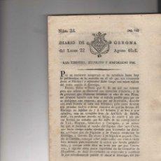 Coleccionismo de Revistas y Periódicos: DIARIO DE GERONA DEL LUNES 22 DE AGOSTO DE 1808. Lote 199166571