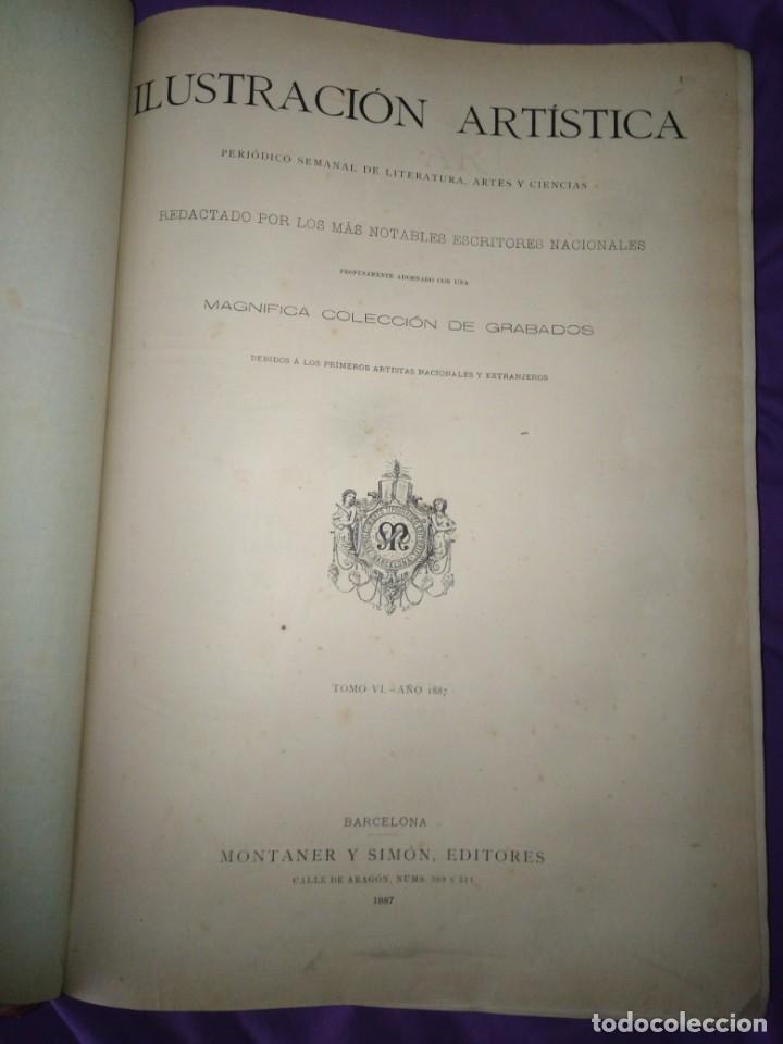 Coleccionismo de Revistas y Periódicos: ILUSTRACION ARTISTICA AÑO COMPLETO 1887 MONTANER Y SIMON - Foto 3 - 201334616