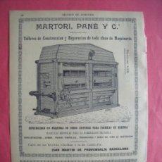 Coleccionismo de Revistas y Periódicos: MARTORI PANE Y CIA.-CONSTRUCCION.-MAQUINARIA.-HARINAS.-PUBLICIDAD.-PROVENSALS.-BARCELONA.-AÑO 1905.. Lote 201682470