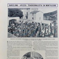 """Coleccionismo de Revistas y Periódicos: RECORTES DE PRENSA TRADICIONALISTAS EN MONTEALEGRE """"REQUETÉS"""".BARCELONA 1910... Lote 203448938"""