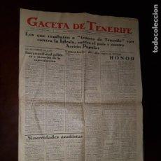 Coleccionismo de Revistas y Periódicos: PERIÓDICO GACETA DE TENERIFE - 27 DE JULIO DE 1935. Lote 203941975