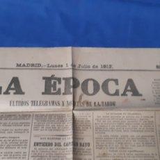 Collectionnisme de Revues et Journaux: ANTIGUO PERIÓDICO ÉPOCA DE MADRID AÑO 1912. Lote 205157343