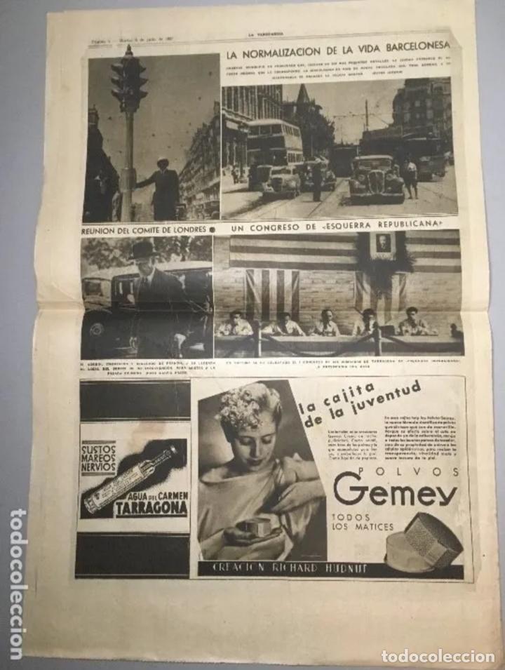Coleccionismo de Revistas y Periódicos: PORTADA Diario La Vanguardia Barcelona, Martes 6 Julio 1937, En Homenaje Al Glorioso General Miaja - Foto 3 - 205439673